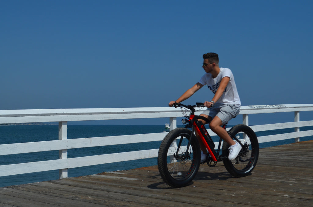 ecomotion core electric bike guy on pier