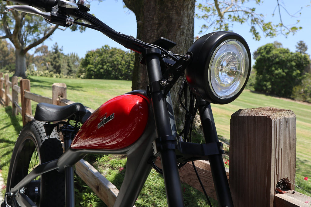 civi cheetah electric bike outside