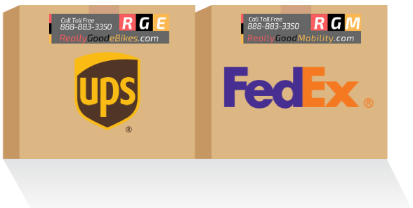 really good ebikes fedex and ups shipping logo
