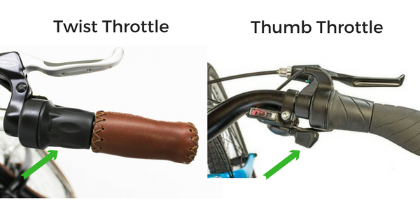 illustration of thumb and twist throttles on electric bikes