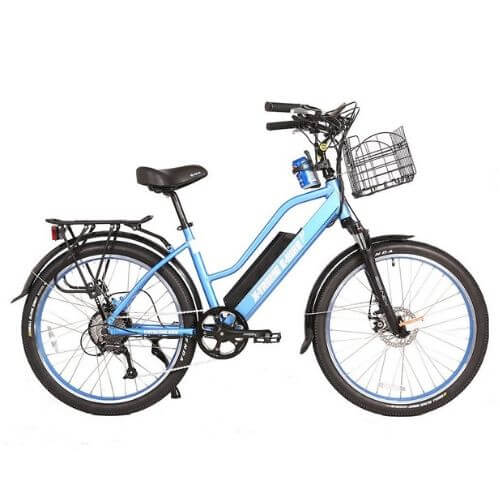 x-treme catalina step-thru ebike blue left side