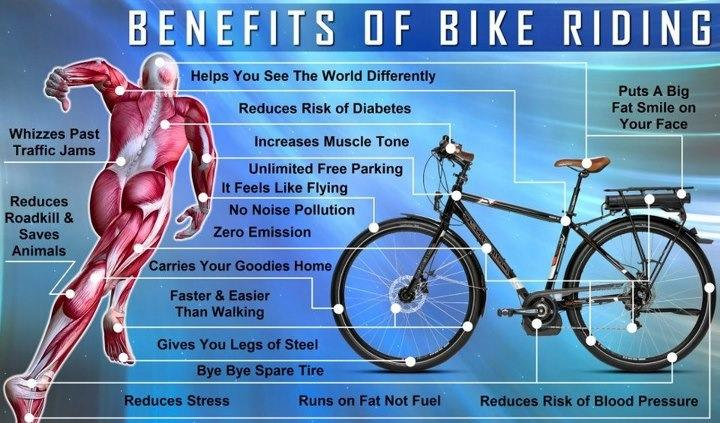 diagram of the benefits of riding bicycles courtesy of really good ebikes