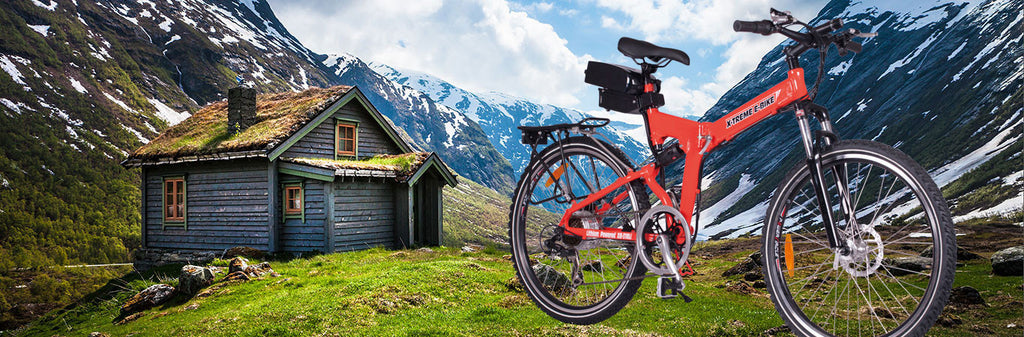 x-treme x-cursion electric mountain bike exterior alpine view