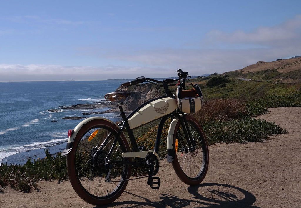ariel rider n-class ebike outside next to ocean courtesy of really good ebikes