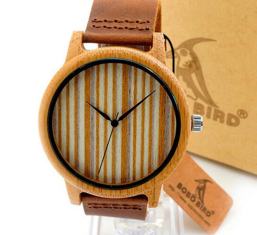 Bamboo Watch Quartz with Leather Strap & Gift Box for Men or Women