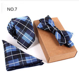 Men Slim Necktie Bow Tie Pocket Square Set 15 Variants