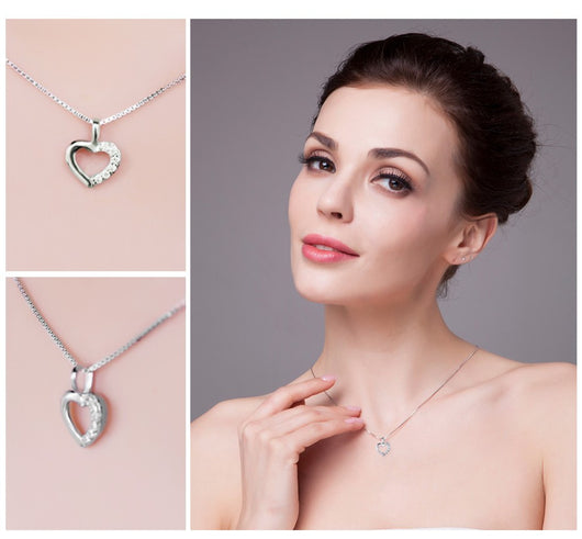 925 Sterling Silver Heart Love Wedding Engagement Pendant Necklace - Free Shipping