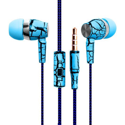 Crack Earphone Cloth Rope Earpieces Stereo Bass with Micrphone for Cellphone MP3 MP4