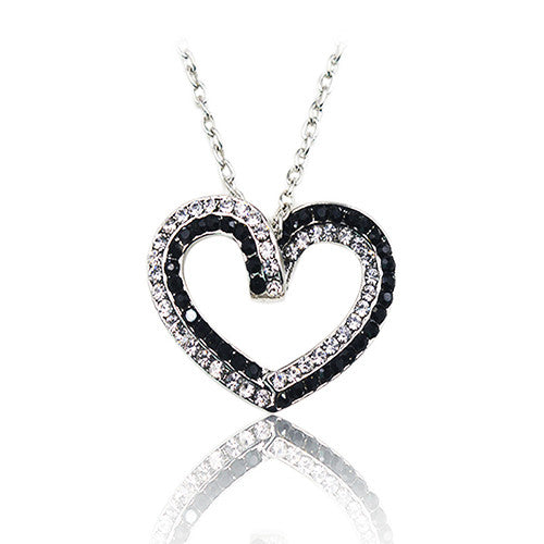 Silver Plated Black & White Crystal Accent Hollow Heart Necklace For Women