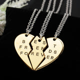 Heart Pendant Pieces Broken Three Best Friend Forever Necklace