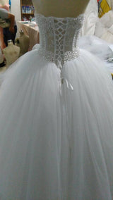 Glamorous Bling Bling Strapless Sheer Corset Wedding Dress