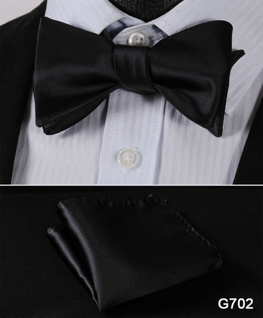 Pure Black Check Classic 100%Silk Men Butterfly Self Bow Tie Pocket Square Handkerchief Suit Set 20 Variants