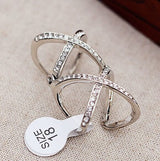 Women's Charming Crystals Criss Cross Ring