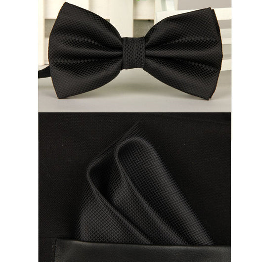 100% Silk Solid Bow tie Set For Men Multi Colors