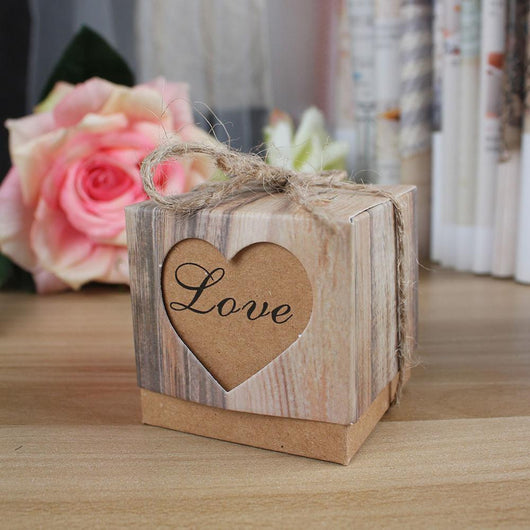 50pcs/lot Romantic Heart Candy Box for Wedding Favors and Gifts Box with Burlap Twine