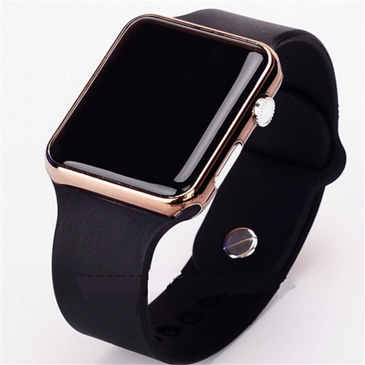 New hot Square Mirror Face Silicone Band Digital Watch Blue LED Metal Frame 4Colour