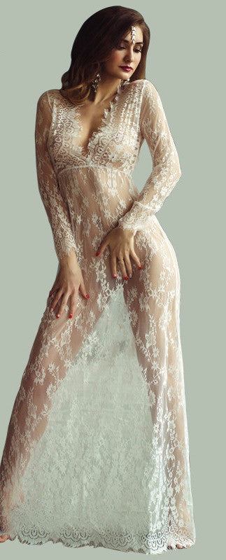 Sexy Floor Length Sheer Lace Maxi Lingerie. Up to 4XL!!!!