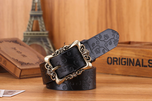 Woman Casual Embossing PU Leather Fashion Vintage Pin Buckle  43 1/3