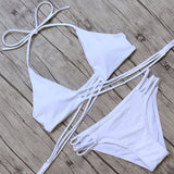 Women Push Up Cross Bandage Beach Bathing Suit Bikini Set
