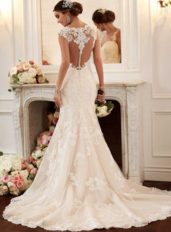 Mermaid Style Lace Applique Wedding Dress