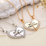 2pcs/set  Gold Silver Crystal Broken Heart  Best Friend Necklaces