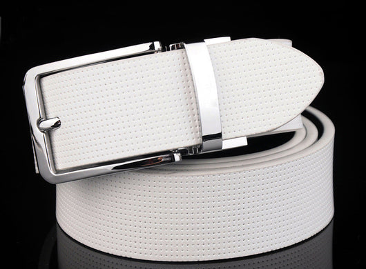 High-quality luxury brand Pure leather men belt double-sided pin buckle