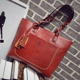 Vintage Style Tassel Tote for Women With Braided Handle