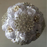 Ivory or White Crystal Brooch Bridal Wedding Bouquet