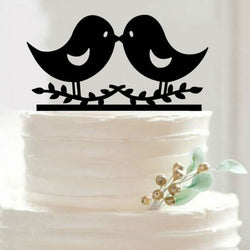 Two Little Love Birds Wedding Cake Topper