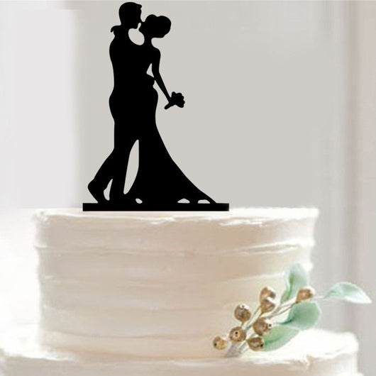 Bride & Groom Silhouette Wedding Cake Topper