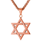 Jewish Jewelry Magen Star of David Pendant Necklace Women Men Chain Gift Gold Plated 18K Gold  Stainless Steel