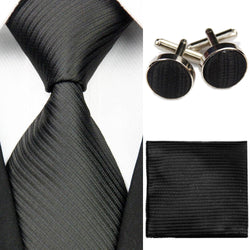Wide Mens Solid Striped Silk Tie Sets for Men 3