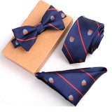 Mens Polyester Skinny Neck ties Bowtie Pocket Square 3pcs Set 17 Variants