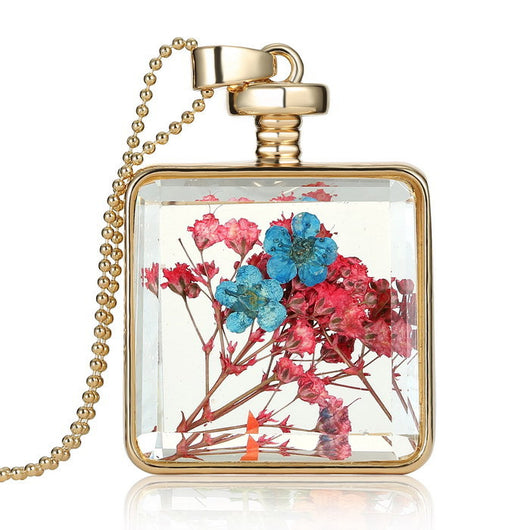 Gold Memory Locket Necklace Crystal Photo Frame Glass Locket Pendant Dried Flower Pendant Necklaces Women