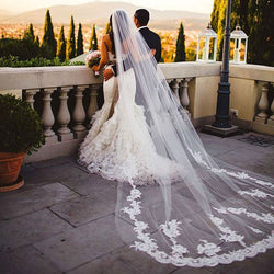 Romantic Tuscan Inspired Cathedral Lace Bridal Veil With Comb