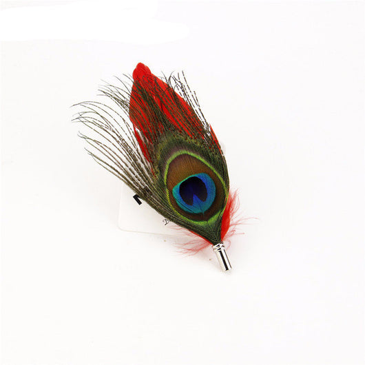New Designers Men's Peacock Boutonniere