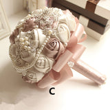Stunning Vintage Look Rose & Ivory Brooch and Pearl Bridal Bouquet.