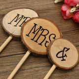 3Pcs Country Rustic Mr & Mrs Wooden Wedding Cake Topper