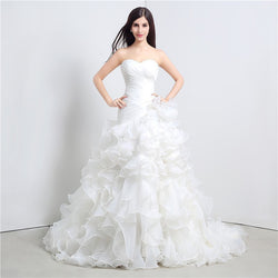 Cascades of Ruffles Elegant Sweetheart Wedding Dress