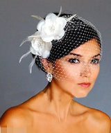 Elegant and Modern Tulle With Feather And Imitation Pearls Veil Hat