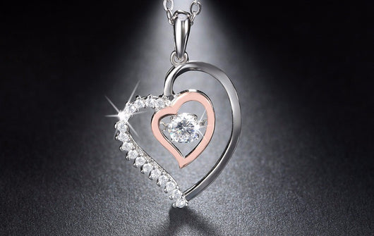 925 Silver Double Heart Pendant Necklace with Movable 0.3 ct Crystal Rhodium mixed Rose Gold Plated Necklaces