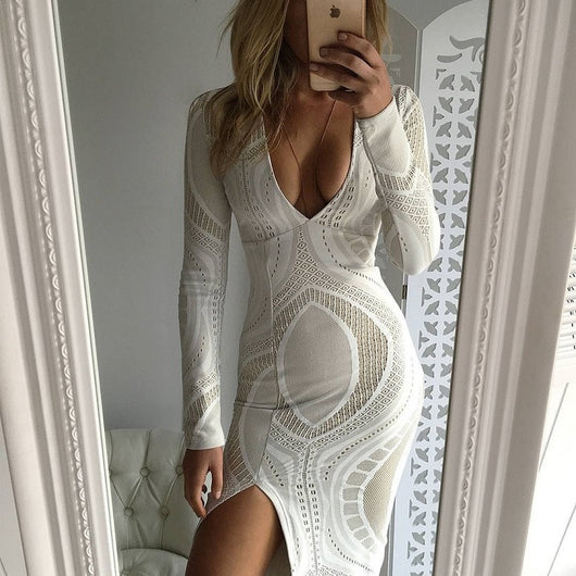 Sexy Thigh High Slit White Lace BodyCon Dress
