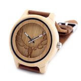 Deer Head Bamboo Wood  Quartz Watch With Genuine Leather Band