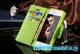 PU Leather Flip Wallet Case with Foldable Kickstand for Iphone 4 4S