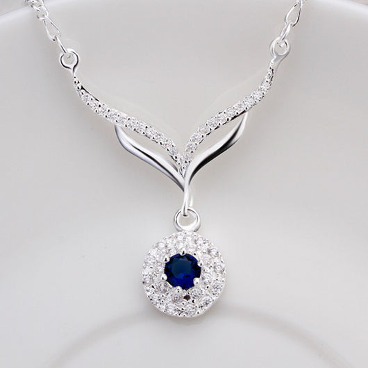 New Arrived 925 Sterling Silver Jewelry  Leafage Link Round Blue Stone Crystal Pendant Necklace For Women Girls