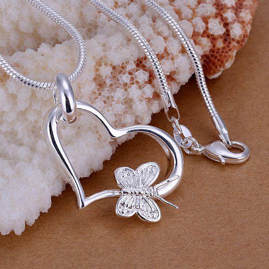 925 Silver Plated Love Heart And Butterfly Pendant Necklace For Women