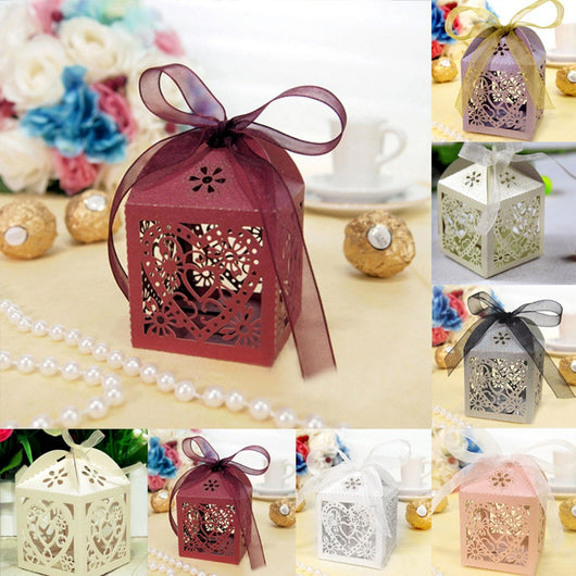 10 Pcs/Lot Heart Bird Cage Wedding Flower Box With Ribbon