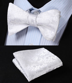 White Floral 100%Silk Jacquard Woven Men Butterfly Self Bow Tie Pocket Square Handkerchief Hanky Suit Set  20 Variants