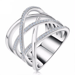 Micro Pave` CZ High Polished Platinum Plated Ring