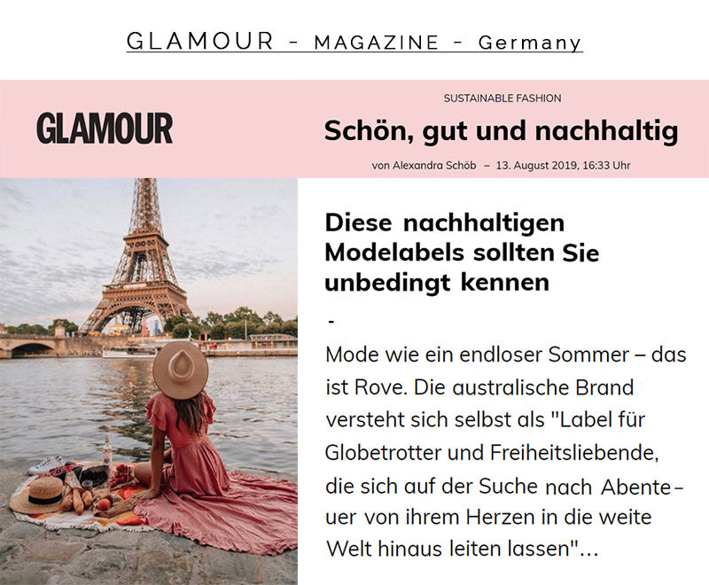 ROVE's Feature Article in Glamour Magazine Germany